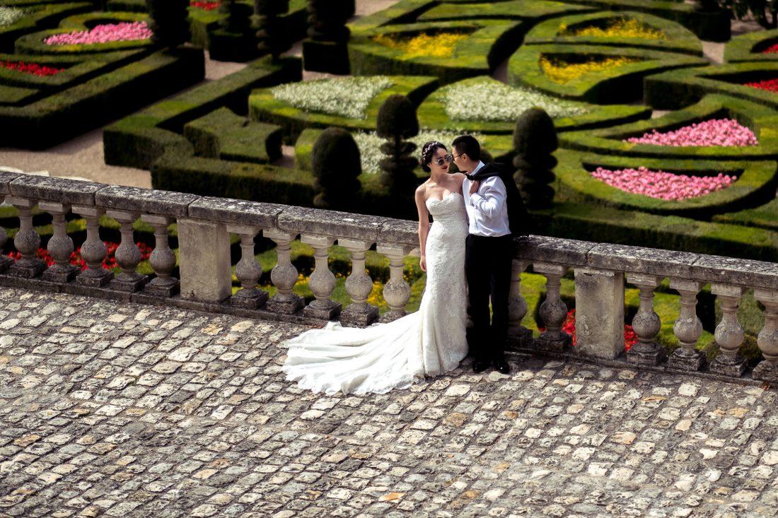 shooting photo mariage au chateau de Villandry et ses jardins